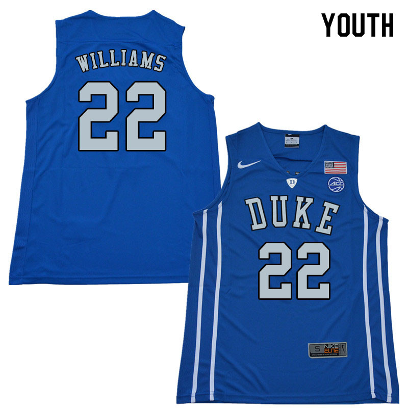 2018 Youth #22 Jason Williams Duke Blue Devils College Basketball Jerseys Sale-Blue