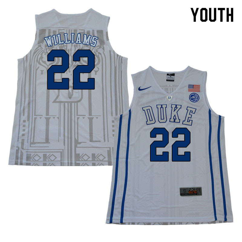 2018 Youth #22 Jason Williams Duke Blue Devils College Basketball Jerseys Sale-White