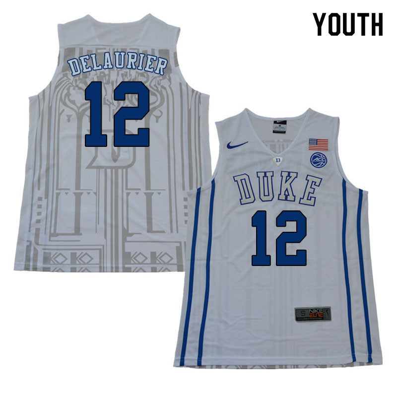 2018 Youth #12 Javin DeLaurier Duke Blue Devils College Basketball Jerseys Sale-White