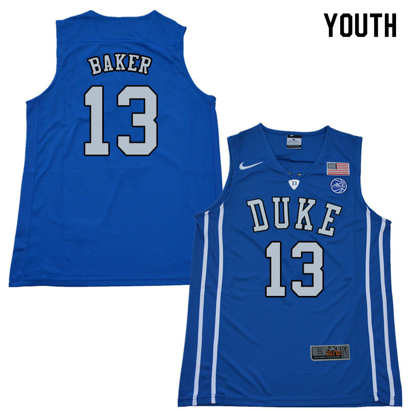 2018 Youth #13 Joey Baker Duke Blue Devils College Basketball Jerseys Sale-Blue