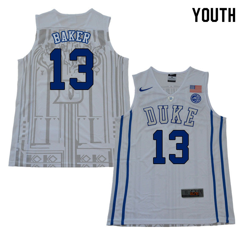 2018 Youth #13 Joey Baker Duke Blue Devils College Basketball Jerseys Sale-White