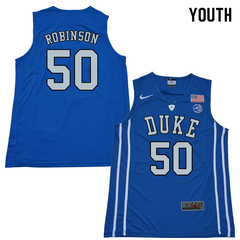 2018 Youth #50 Justin Robinson Duke Blue Devils College Basketball Jerseys Sale-Blue