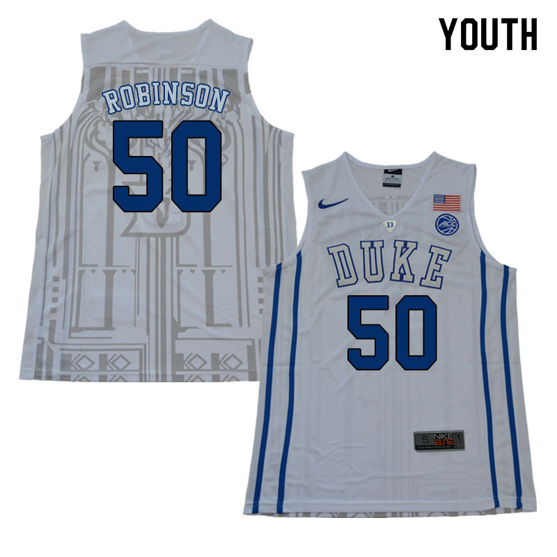 2018 Youth #50 Justin Robinson Duke Blue Devils College Basketball Jerseys Sale-White