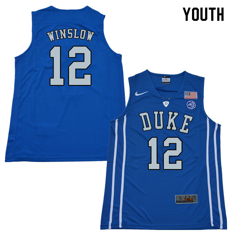 2018 Youth #12 Justise Winslow Duke Blue Devils College Basketball Jerseys Sale-Blue
