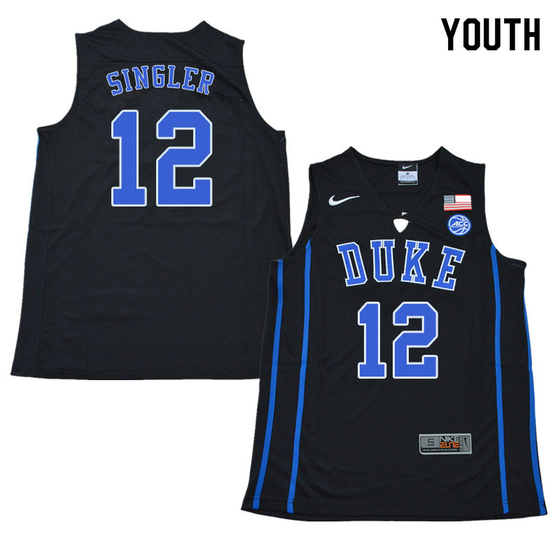 2018 Youth #12 Kyle Singler Duke Blue Devils College Basketball Jerseys Sale-Black