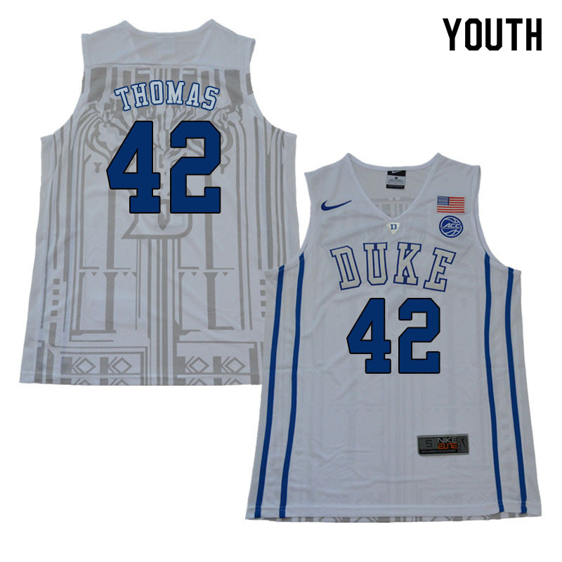 2018 Youth #42 Lance Thomas Duke Blue Devils College Basketball Jerseys Sale-White
