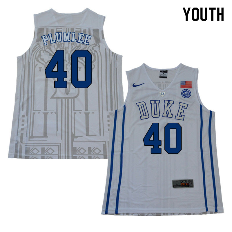 2018 Youth #40 Marshall Plumlee Duke Blue Devils College Basketball Jerseys Sale-White