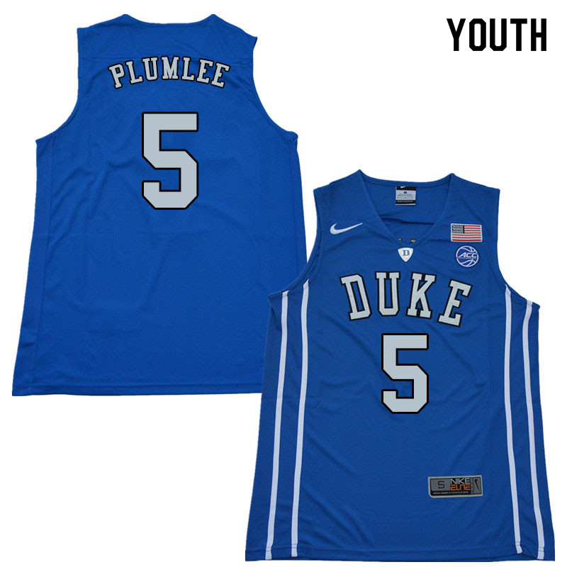 2018 Youth #5 Mason Plumlee Duke Blue Devils College Basketball Jerseys Sale-Blue