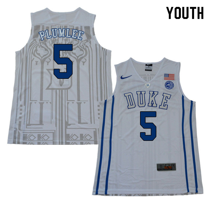 2018 Youth #5 Mason Plumlee Duke Blue Devils College Basketball Jerseys Sale-White