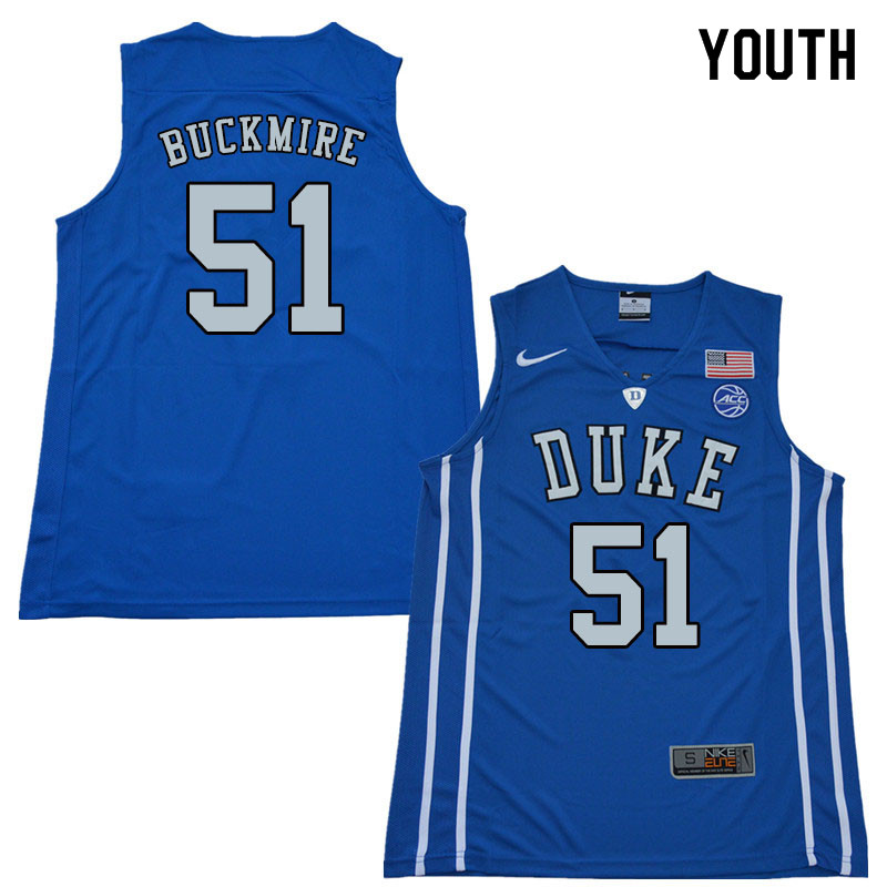 2018 Youth #51 Mike Buckmire Duke Blue Devils College Basketball Jerseys Sale-Blue