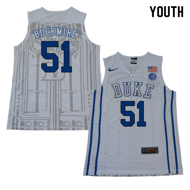 2018 Youth #51 Mike Buckmire Duke Blue Devils College Basketball Jerseys Sale-White