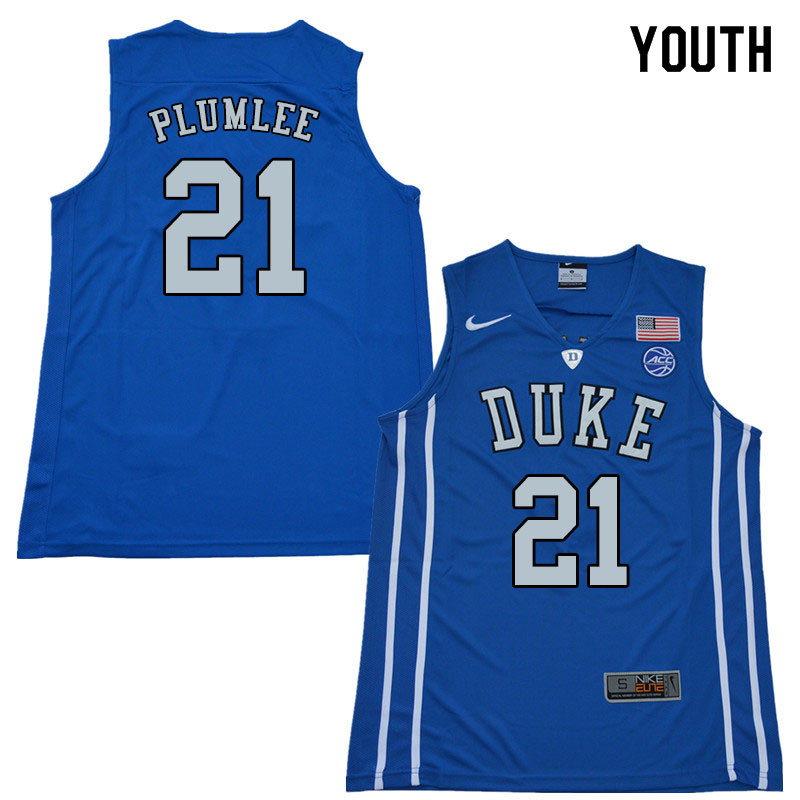 2018 Youth #21 Miles Plumlee Duke Blue Devils College Basketball Jerseys Sale-Blue