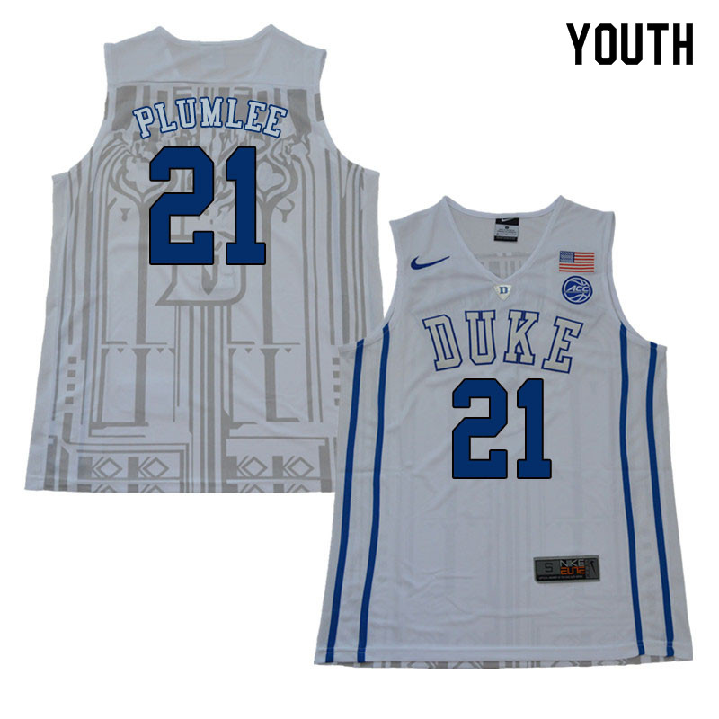 2018 Youth #21 Miles Plumlee Duke Blue Devils College Basketball Jerseys Sale-White