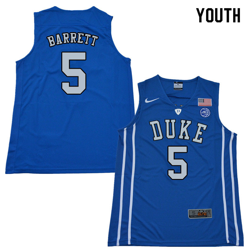 2018 Youth #5 R.J. Barrett Duke Blue Devils College Basketball Jerseys Sale-Blue