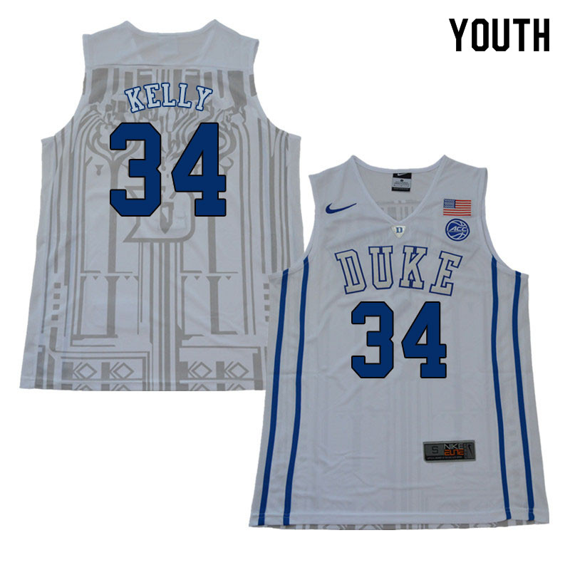 2018 Youth #34 Ryan Kelly Duke Blue Devils College Basketball Jerseys Sale-White