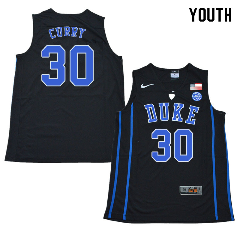 2018 Youth #30 Seth Curry Duke Blue Devils College Basketball Jerseys Sale-Black