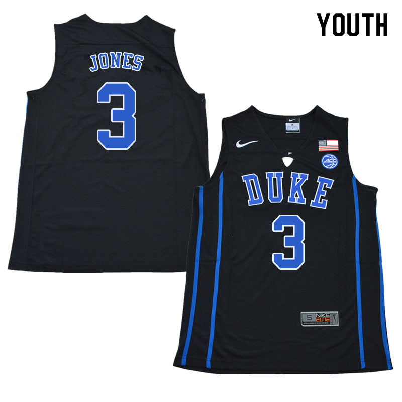 2018 Youth #3 Tre Jones Duke Blue Devils College Basketball Jerseys Sale-Black