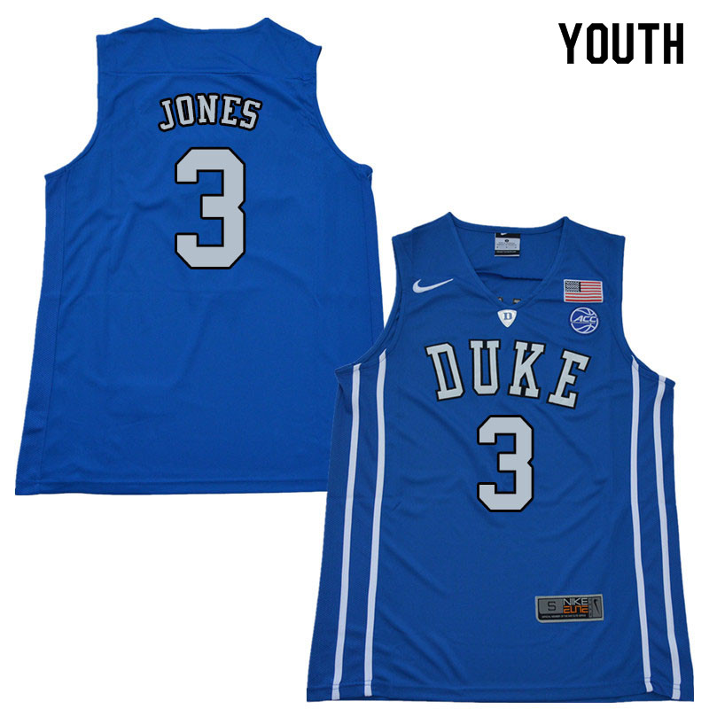 2018 Youth #3 Tre Jones Duke Blue Devils College Basketball Jerseys Sale-Blue