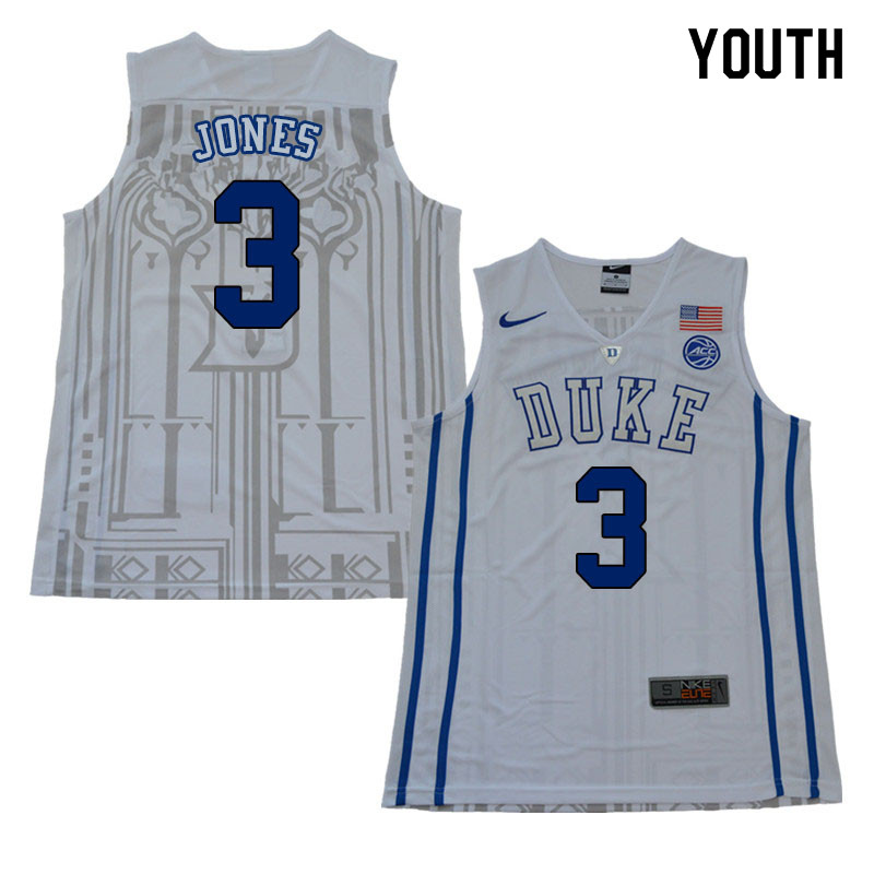 2018 Youth #3 Tre Jones Duke Blue Devils College Basketball Jerseys Sale-White