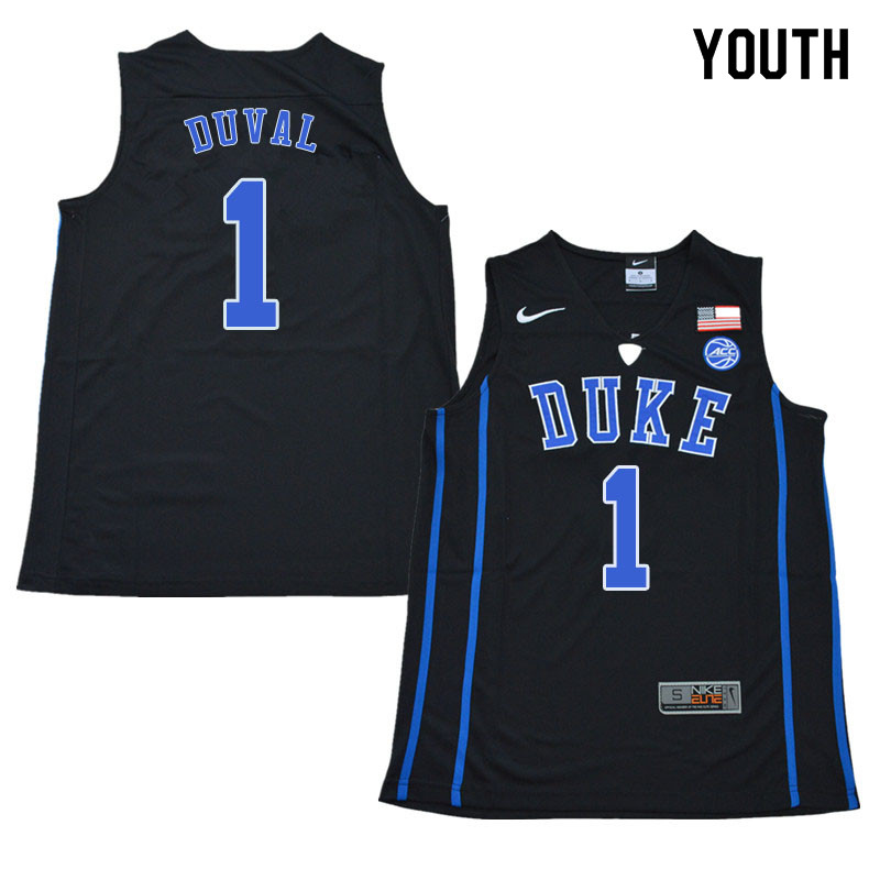 2018 Youth #1 Trevon Duval Duke Blue Devils College Basketball Jerseys Sale-Black
