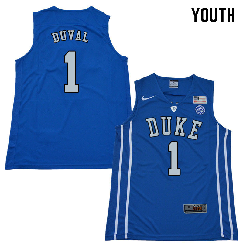 2018 Youth #1 Trevon Duval Duke Blue Devils College Basketball Jerseys Sale-Blue