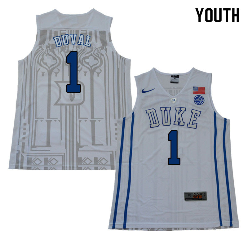 2018 Youth #1 Trevon Duval Duke Blue Devils College Basketball Jerseys Sale-White