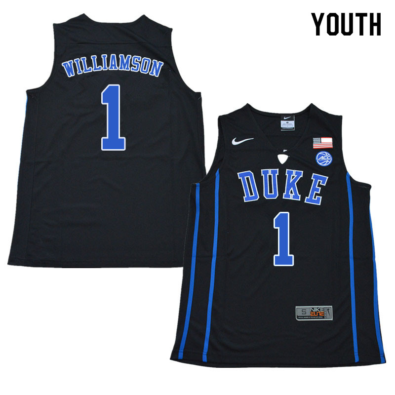 2018 Youth #1 Zion Williamson Duke Blue Devils College Basketball Jerseys Sale-Black