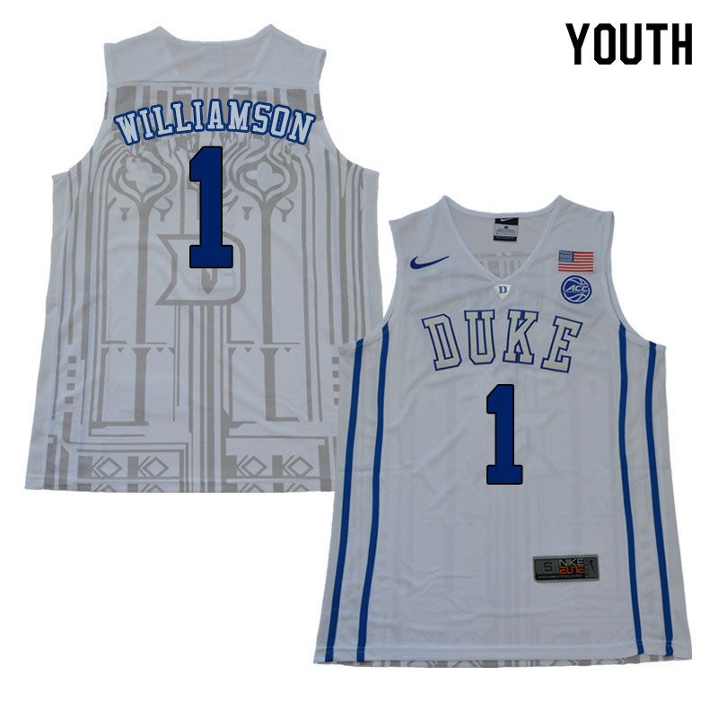 2018 Youth #1 Zion Williamson Duke Blue Devils College Basketball Jerseys Sale-White