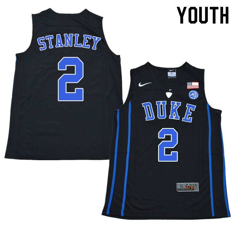 Youth #2 Cassius Stanley Duke Blue Devils College Basketball Jerseys Sale-Black