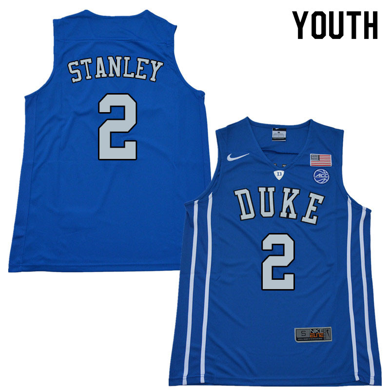 Youth #2 Cassius Stanley Duke Blue Devils College Basketball Jerseys Sale-Blue