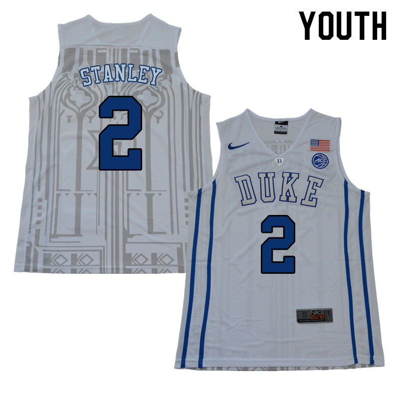 Youth #2 Cassius Stanley Duke Blue Devils College Basketball Jerseys Sale-White