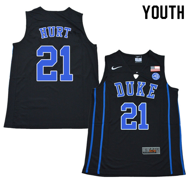 Youth #21 Matthew Hurt Duke Blue Devils College Basketball Jerseys Sale-Black