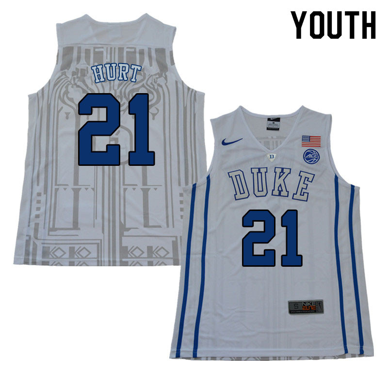 Youth #21 Matthew Hurt Duke Blue Devils College Basketball Jerseys Sale-White
