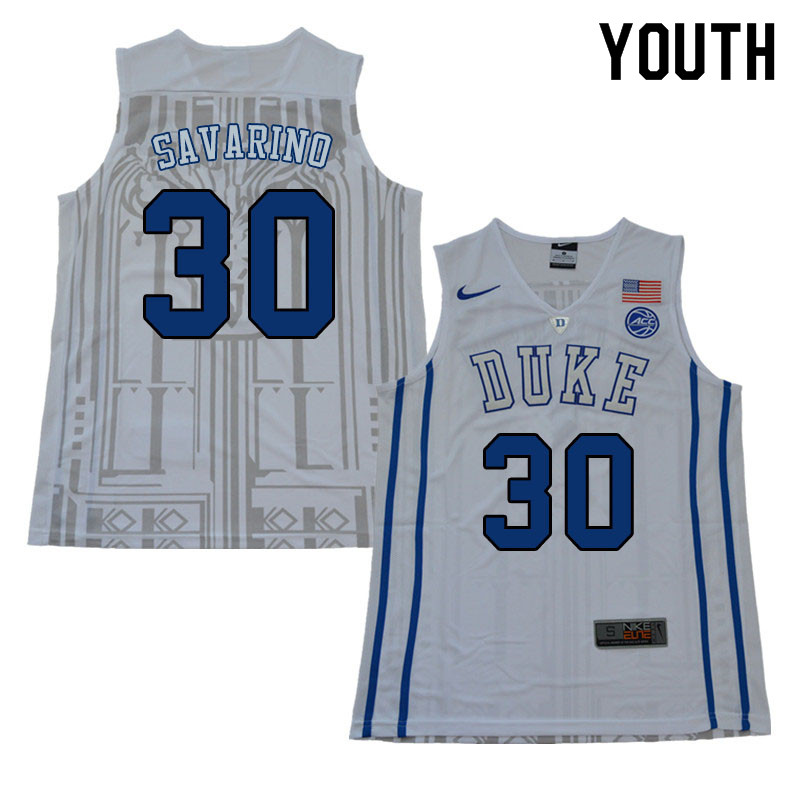 Youth #30 Michael Savarino Duke Blue Devils College Basketball Jerseys Sale-White