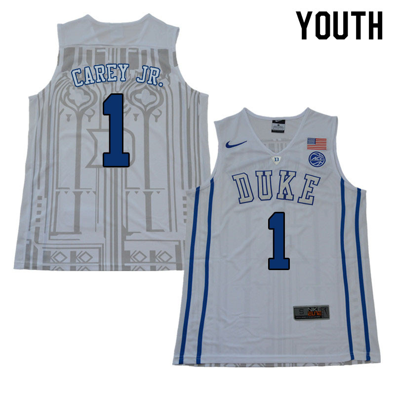 Youth #1 Vernon Carey Jr. Duke Blue Devils College Basketball Jerseys Sale-White