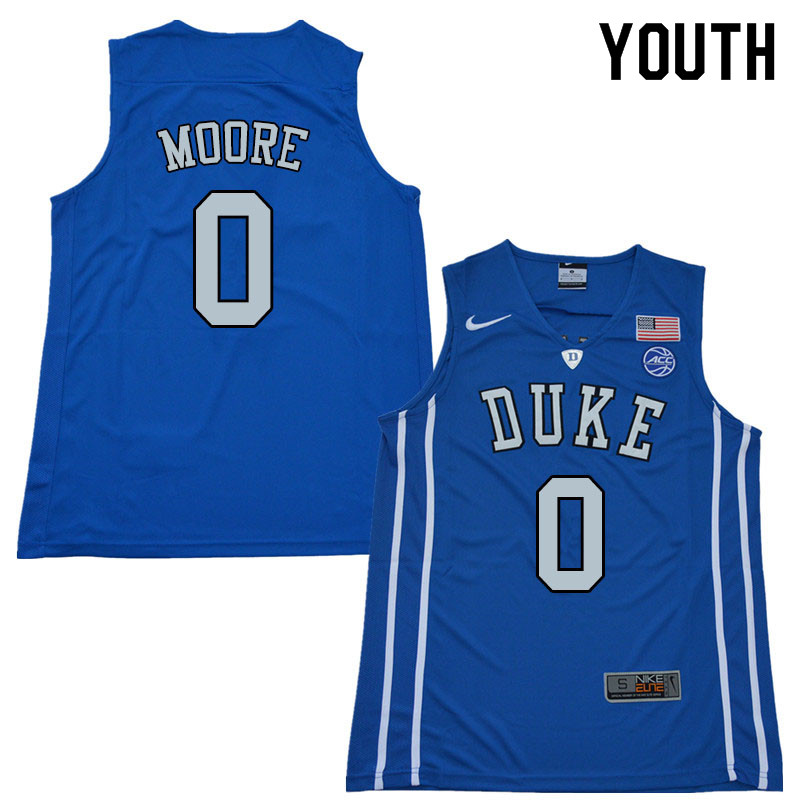 Youth #0 Wendell Moore Duke Blue Devils College Basketball Jerseys Sale-Blue
