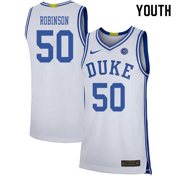 2020 Youth #50 Justin Robinson Duke Blue Devils College Basketball Jerseys Sale-White