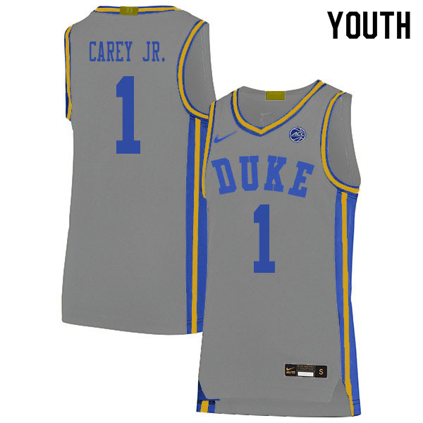 2020 Youth #1 Vernon Carey Jr. Duke Blue Devils College Basketball Jerseys Sale-Gray