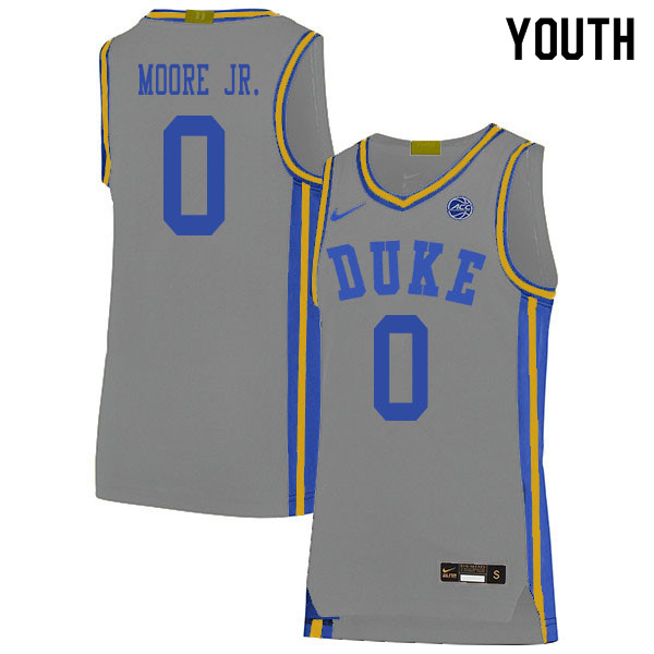 2020 Youth #0 Wendell Moore Jr. Duke Blue Devils College Basketball Jerseys Sale-Gray