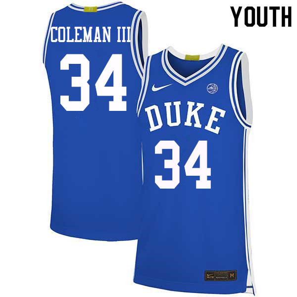 Youth #34 Henry Coleman III Duke Blue Devils College Basketball Jerseys Sale-Blue