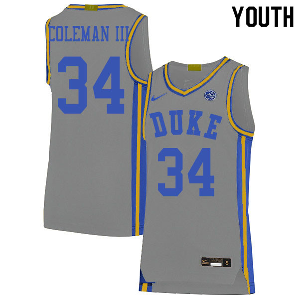 Youth #34 Henry Coleman III Duke Blue Devils College Basketball Jerseys Sale-Gray