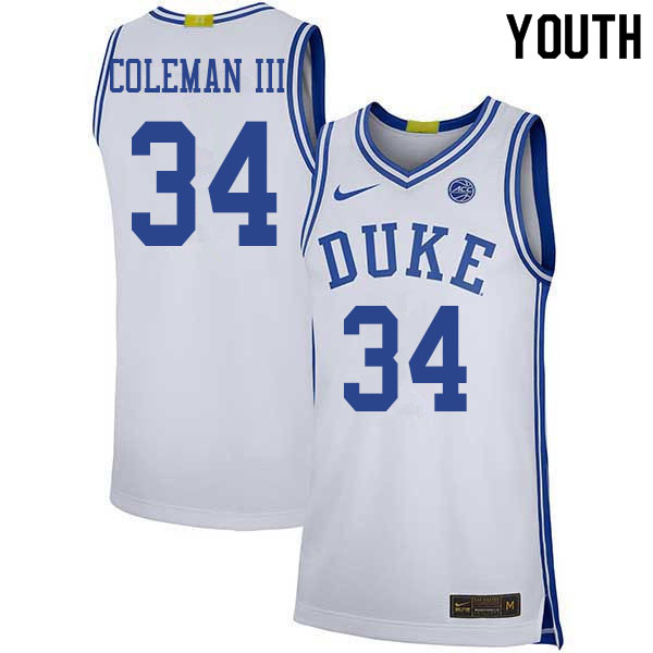 Youth #34 Henry Coleman III Duke Blue Devils College Basketball Jerseys Sale-White