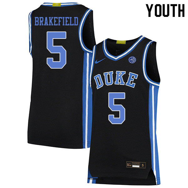 Youth #5 Jaemyn Brakefield Duke Blue Devils College Basketball Jerseys Sale-Black