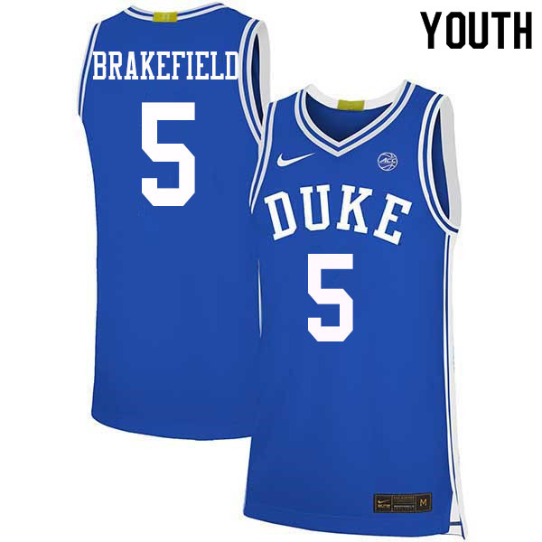 Youth #5 Jaemyn Brakefield Duke Blue Devils College Basketball Jerseys Sale-Blue