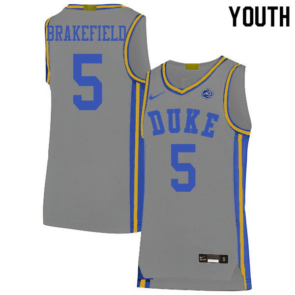 Youth #5 Jaemyn Brakefield Duke Blue Devils College Basketball Jerseys Sale-Gray