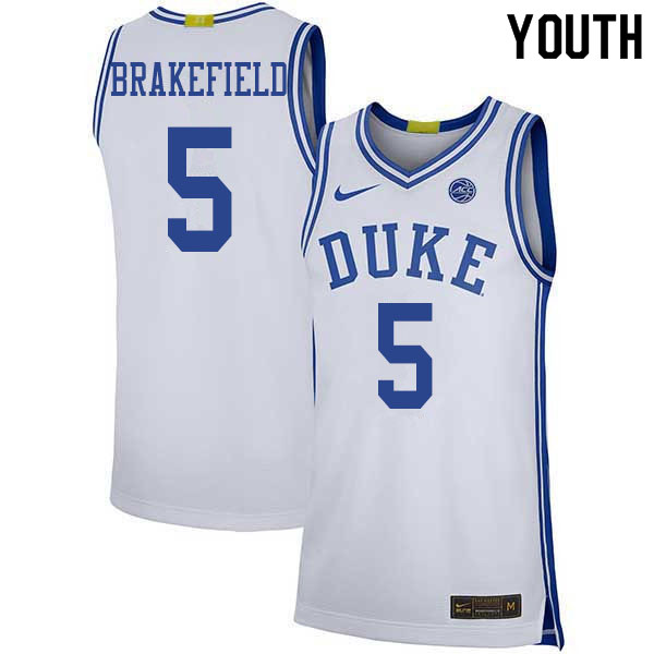 Youth #5 Jaemyn Brakefield Duke Blue Devils College Basketball Jerseys Sale-White